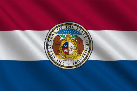 americana: Flag of Missouri is a state located in the Midwestern United States. 3D illustration