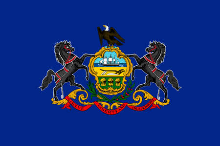 allegiance: Flag of Pennsylvania state of the United States. 3D illustration