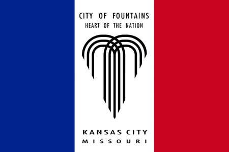 jefferson: Flag of Kansas City in Missouri state of United States. 3D illustration