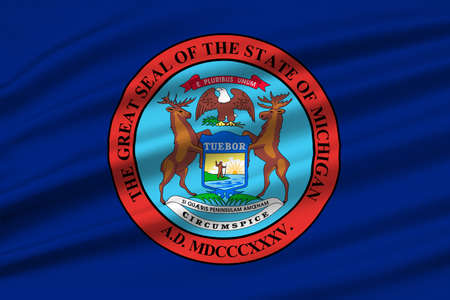 grand rapids: Flag of Michigan is a state in United States. 3D illustration