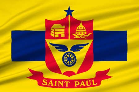 Flag of Saint Paul is the capital city of Minnesota state, United States. 3D illustration