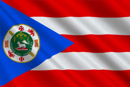 bandera de puerto rico: Flag of Puerto Rico State located in the northeastern Caribbean, United States. 3D illustration Foto de archivo