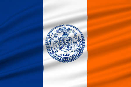 ny: Flag of New York City or simply New York, is the most populous city in the United States. 3D illustration
