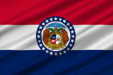 jefferson: Flag of Missouri is a state located in the Midwestern United States. 3D illustration
