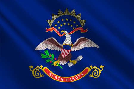 Flag of North Dakota is the state in United States. 3D illustration Stock Photo