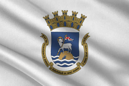 Flag of San Juan is the capital and most populous municipality in the Commonwealth of Puerto Rico, United States. 3D illustration