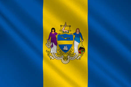 americana: Flag of Philadelphia is the largest city in the Commonwealth of Pennsylvania, United States. 3D illustration