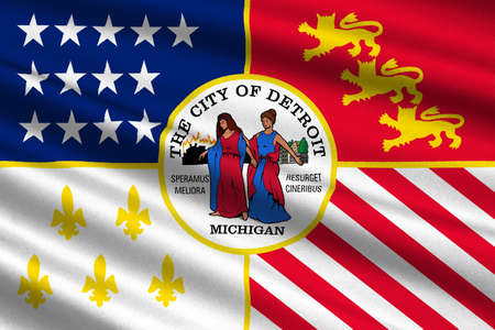 grand rapids: Flag of Detroit is the most populous city in state of Michigan, United States. 3D illustration Stock Photo