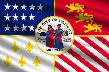 Flagge Von Detroit Ist Die Bevolkerungsreichste Stadt Im