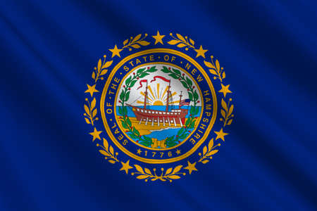 concord: Flag of New Hampshire is a state of United States. 3D illustration