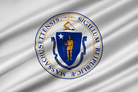 Flag of Massachusetts state in United States. 3D illustration Banco de Imagens