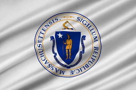 Flag of Massachusetts state in United States. 3D illustration Stock Photo