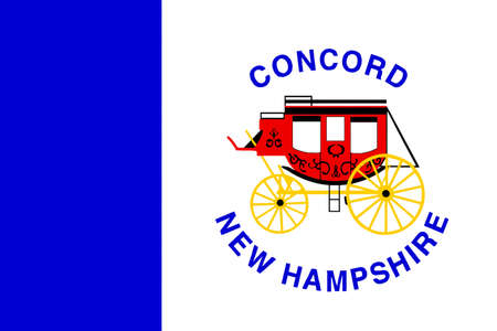 concord: Flag of Concord is the capital city of New Hampshire, United States. 3D illustration Stock Photo