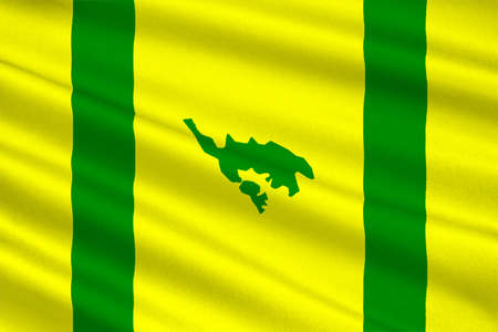 Flag of Isla Culebra (Snake Island) is an island-municipality of Puerto Rico, United States. 3D illustration