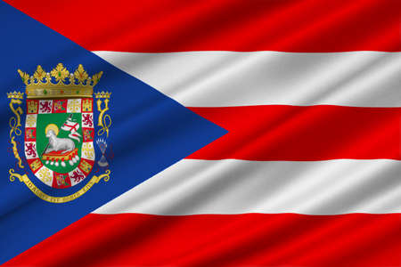 northeastern: Flag of Puerto Rico State located in the northeastern Caribbean, United States. 3D illustration Stock Photo