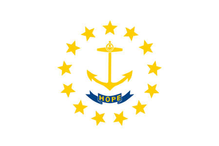 americana: Flag of Rhode Island officially the State of Rhode Island and Providence Plantations, is a state in the New England region of the United States. 3D illustration
