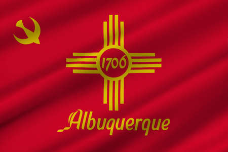 populous: Flag of Albuquerque is the most populous city in New Mexico, United States. 3D illustration Stock Photo