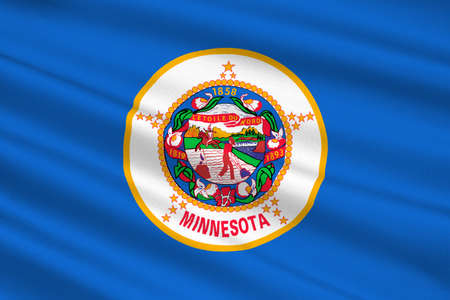 gopher: Flag of Minnesota is a state in the Midwestern United States. 3D illustration Stock Photo