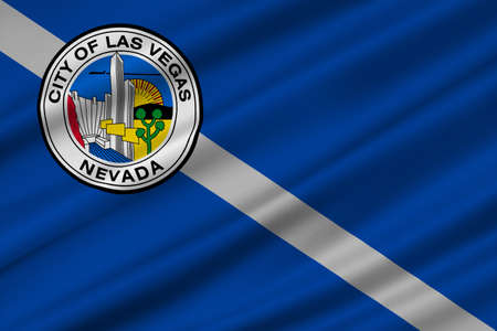 carson city: Flag of Las Vegas City of Nevada state, United States. 3D illustration Stock Photo