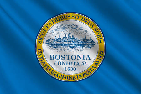 americana: Flag of Boston is the capital city of Massachusetts in United States. 3D illustration