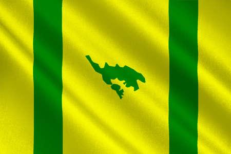 americana: Flag of Isla Culebra (Snake Island) is an island-municipality of Puerto Rico, United States. 3D illustration