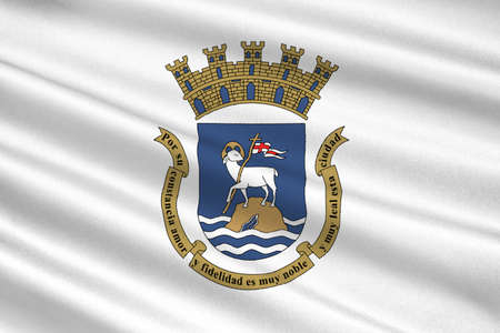 americana: Flag of San Juan is the capital and most populous municipality in the Commonwealth of Puerto Rico, United States. 3D illustration