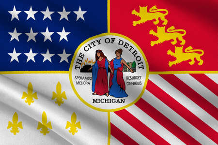 detroit: Flag of Detroit is the most populous city in state of Michigan, United States. 3D illustration Stock Photo