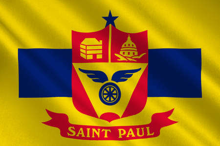 paul: Flag of Saint Paul is the capital city of Minnesota state, United States. 3D illustration