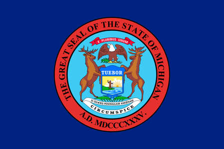 Flag of Michigan is a state in United States. 3D illustration