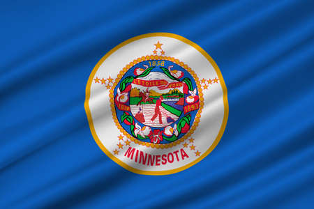Flag of Minnesota is a state in the Midwestern United States. 3D illustration Stock Photo
