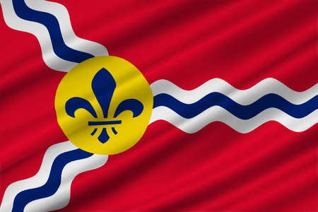 americana: Flag of St. Louis is a city and port in Missouri state of United States. 3D illustration