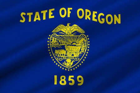 oregon: Flag of Oregon is a state of United States. 3D illustration Stock Photo