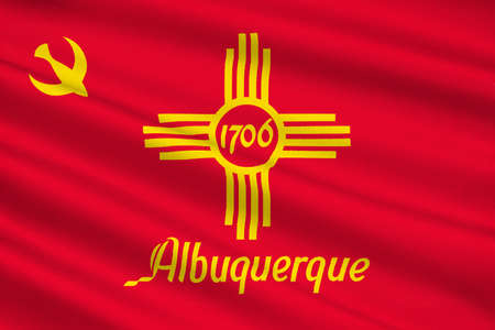 albuquerque: Flag of Albuquerque is the most populous city in New Mexico, United States. 3D illustration Stock Photo