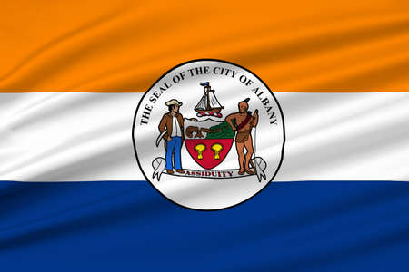 albany: Flag of Albany is the capital of New York state, United States. 3D illustration
