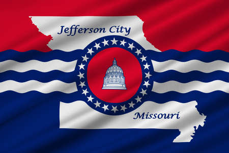 jefferson: Flag of Jefferson City is the capital of Missouri statei, United States. 3D illustration