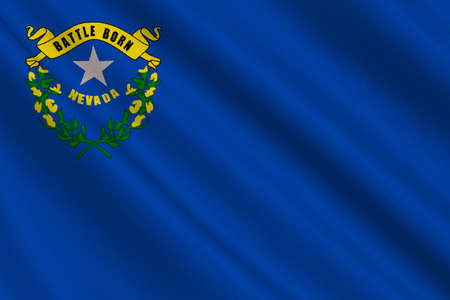 americana: Flag of Nevada state in the Western of United States. 3D illustration Stock Photo