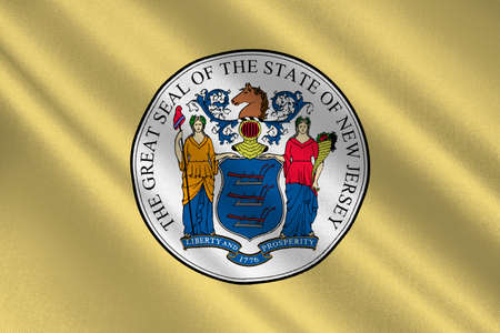americana: Flag of New Jersey is a state of United States. 3D illustration Stock Photo