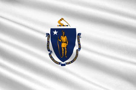 americana: Flag of Massachusetts state in United States. 3D illustration Stock Photo