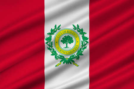 americana: Flag of Raleigh is the capital of the state of North Carolina, United States. 3D illustration Stock Photo