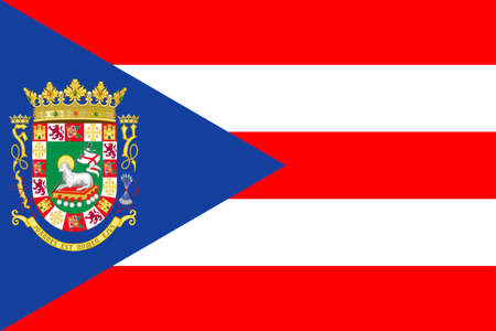 Flag of Puerto Rico State located in the northeastern Caribbean, United States. 3D illustration Banco de Imagens