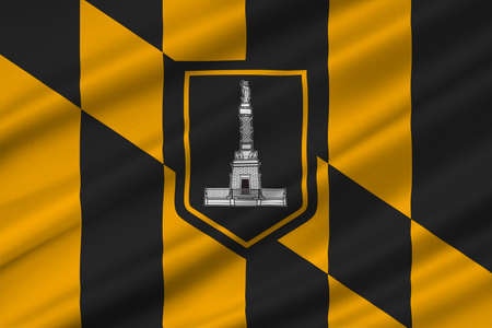 baltimore: Flag of Baltimore city in Maryland state of United States. 3D illustration Stock Photo