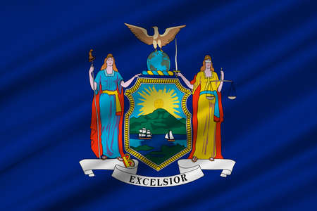 northeastern: Flag of New York is a state in the Northeastern United States. 3D illustration