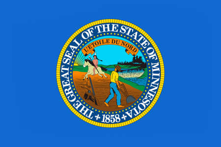 national park: Flag of Minnesota is a state in the Midwestern United States. 3D illustration Stock Photo