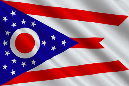 americana: Flag of Ohio is a state of United States. 3D illustration