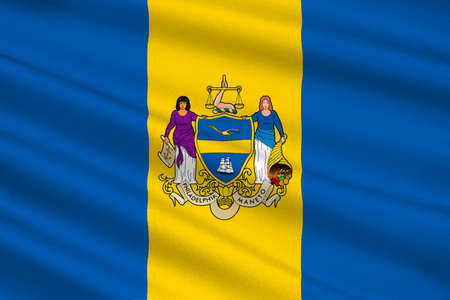 Flag of Philadelphia is the largest city in the Commonwealth of Pennsylvania, United States. 3D illustration