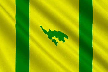 bandera de puerto rico: Flag of Isla Culebra (Snake Island) is an island-municipality of Puerto Rico, United States. 3D illustration