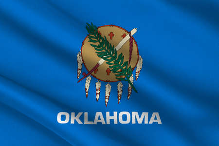 americana: Flag of Oklahoma is a state in United States. 3D illustration