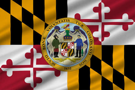 Flag of Maryland is a state of United States. 3D illustration Stock Photo