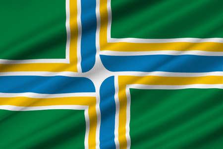 americana: Flag of Portland in state of Oregon, United States. 3D illustration