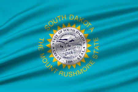 americana: Flag of South Dakota is a state of United States. 3D illustration Stock Photo